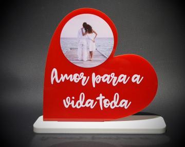 Coração em acrílico - Amor para a vida toda - Personalizado com foto (circulo)