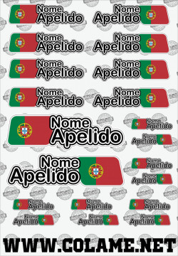 Folha / Pack de Autocolantes - Bandeira + Nome + Apelido