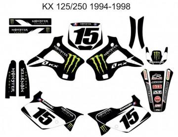 Kit Autocolantes Para Kawasaki KX 125 / 250 94-98