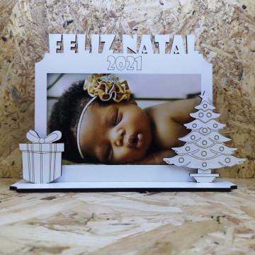Moldura Feliz Natal 2021 em MDF - Com foto personalizada