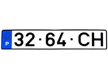 Placa de Matrícula Rectangular em Acrílico - Sem Ano (Até 1998)