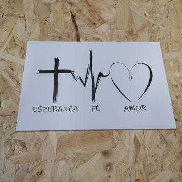 Placa Decorativa em PVC - Esperança Fé Amor