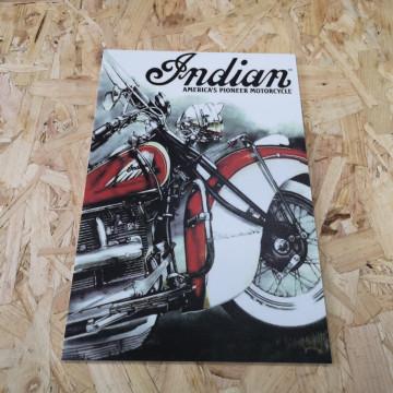 Placa Decorativa em PVC - Indian America´s Pioneer Motorcycle