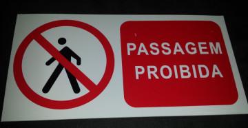 Placa PVC - Passagem proibida