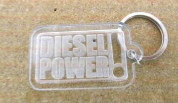 """Porta Chaves de Acrílico com gravação """"Diesel Power!"""""""