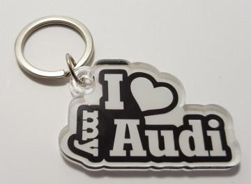 Porta chaves em acrílico com I Love My Audi