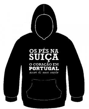 Sweatshirt com capuz - Os pés na suiça o coração em Portugal, amor de uma nação