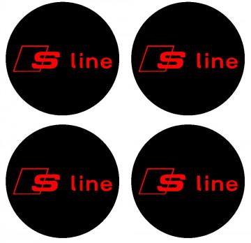 4 Autocolantes Para Centros de Jantes para Audi S-Line