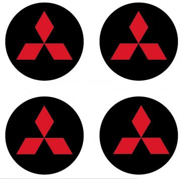 4 Autocolantes Para Centros de Jantes para MITSUBISHI