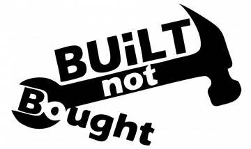 Autocolante com Built not bought