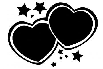 Autocolante - Corações Estrelas