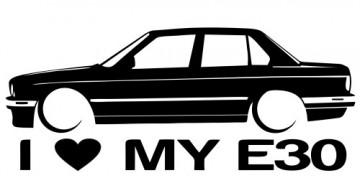 Autocolante para I love BMW E30 sedan