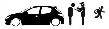 Autocolante - Policia e ladrões - Peugeot 206
