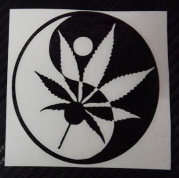 Autocolante - Ying-Yang Cannabis