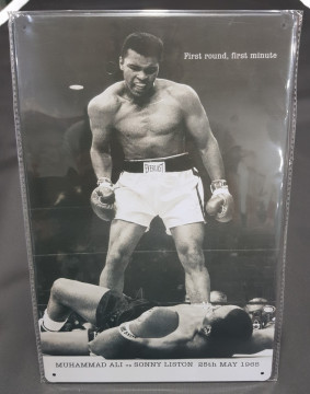 Chapa decorativa com Muhammad Ali vs Sonny Liston