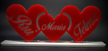 Corações em acrílico - Personalizado