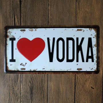 Matrícula decorativa - I Love VODKA