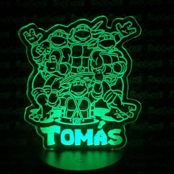 Moldura / Candeeiro com luz de presença - Tartarugas Ninja - Com nome