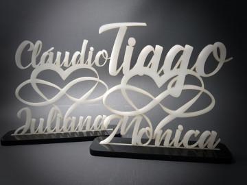 Moldura em Acrílico - 2 nomes + Coração + infinito