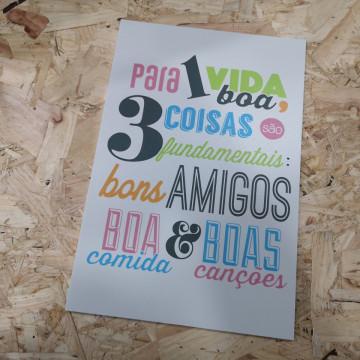 Placa Decorativa em PVC - Para 1 Vida boas 3 coisas são fundamentais: