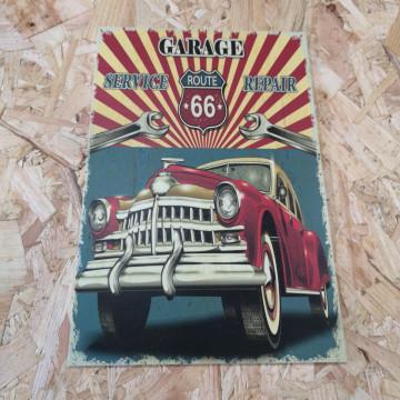Placa Decorativa em PVC - Route 66 Garage