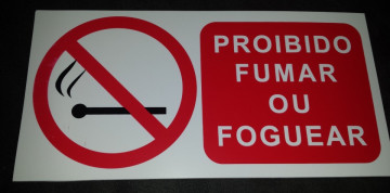 Placa PVC - Proibido fumar ou foguear