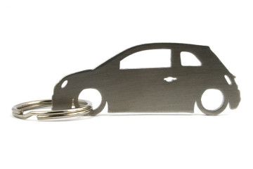 Porta Chaves em inox com silhueta com Fiat 500