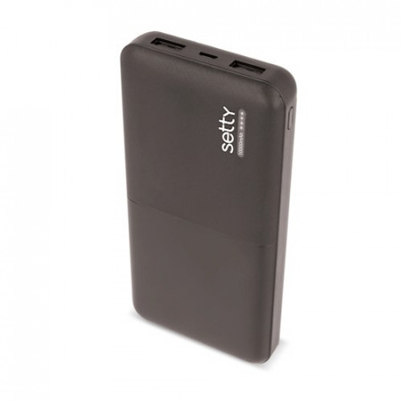 Poze Baterie externa Setty 10000 mAh cu 2 porturi USB, Black
