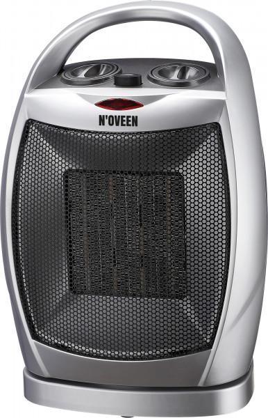 Radiator ceramic de podea, Noveen, PTC09, 1500W, 2 trepte de putere,cu oscilare 90 grade,ventilare aerrece / aer fierbinte, maner, argintiu