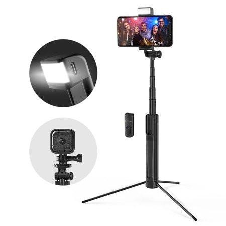 Selfie Stick Tripod BlitzWolf 3 in 1 cu Lanterna LED si telecomanda detasabila - BW-BS8