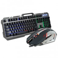 Kit tastatura si mouse gaming, Rebeltec, iluminate LED,USB, metalica, suport smartphone, 2400 DPI