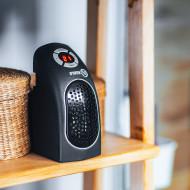 Mini Aeroterma electrica de perete Noveen, 400W, incalzitor din ceramica, display LED, thermostat, negru