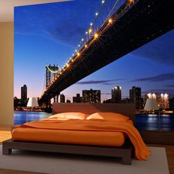 Fotótapéta - Manhattan Bridge megvilágított éjszakai