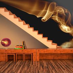 Fotótapéta - Orange absztrakt füst fekete háttér