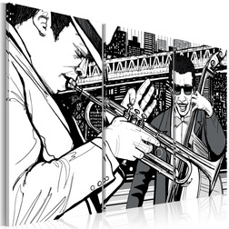 Kép - Jazz koncert a háttérben a New York-i felhőkarcoló
