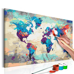Kifestő - World Map (Blue & Red)