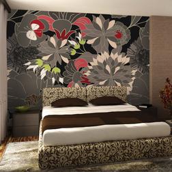 Fotótapéta - floral design - gray