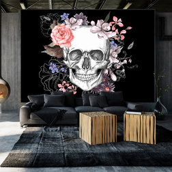 Fotótapéta - Skull and Flowers