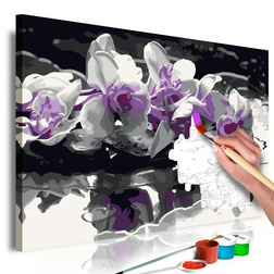 Kifestő - Purple Orchid (Black Background & Reflection In The Water)