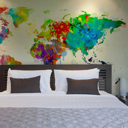 Fotótapéta - Paint splashes map of the World