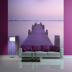 Fotótapéta - Violet naplemente és egy hidat egy tó