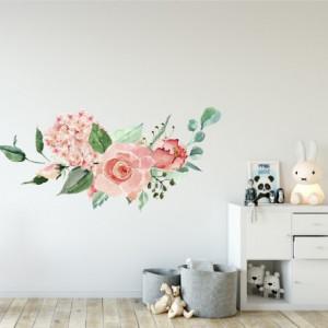 Csokor rózsaszín virág - Falmatrica