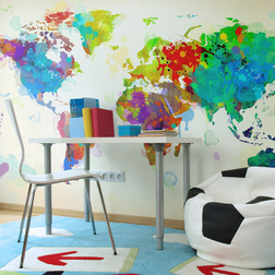 Fotótapéta - Paint splashes map of the World