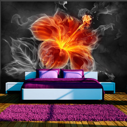 Fotótapéta - Fiery flower inside the smoke