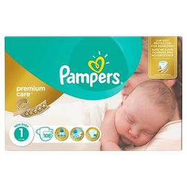 Poze Scutece Pampers Premium Care 1 New Baby Jumbo Pack 108 buc