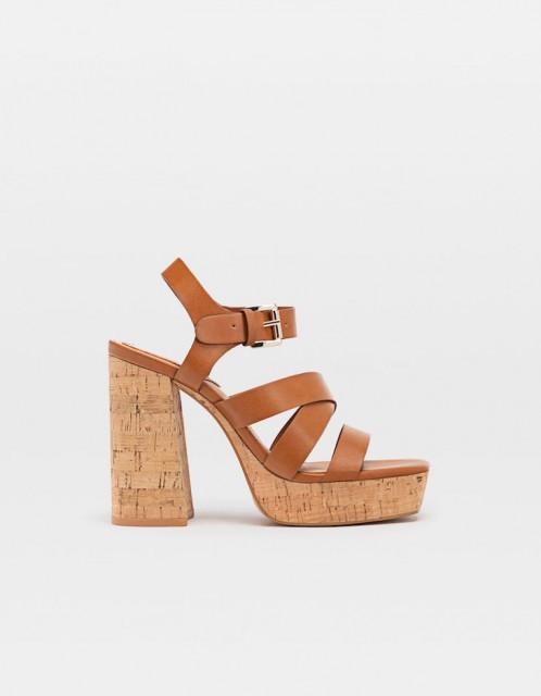Poze Stradivarius Maron Platform Sandals