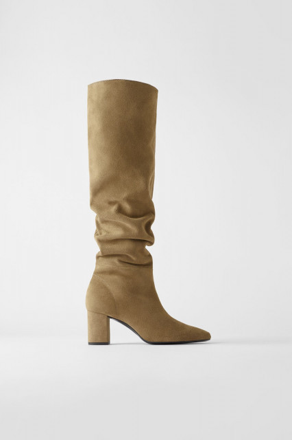Poze Zara Split Leather Mid Height Boots