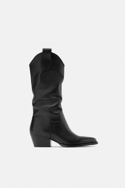 Poze Zara Leather Cowboy Boots