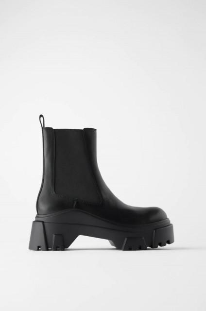 Poze Zara Track LeatherAnkleBoots