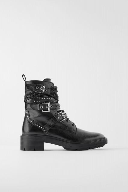 Poze Zara Flat Leather Ankle Pearl